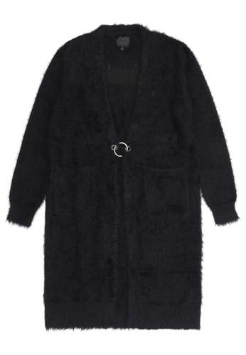 MUSIUM DIV black Pocketed long cardigan 01C79AAA156346GS_1