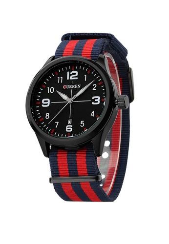 curren red and blue Curren 8195 Men's Sports & Casual Nylon Strap Watch (Blue Red) CU537AC44VPJMY_1