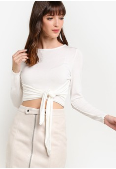 MISSGUIDED  White Tie Front Crop Top
