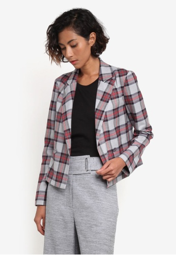 TOPSHOP grey and multi Checkered Crop Jacket TO412AA0ROV2MY_1