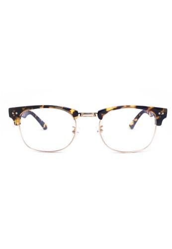 眉架鏡框│玳瑁色 X 金色│M10esprit官網54-C2, 飾品配件, 眼鏡