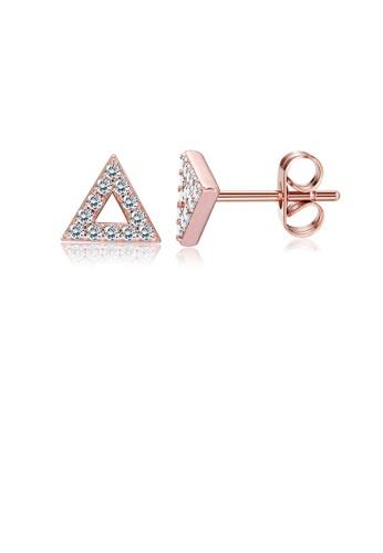 Glamorousky white Simple Plated Rose Gold Geometric Triangular Cubic Zirconia Stud Earrings C4CAFAC589C793GS_1