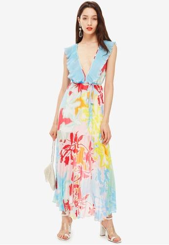 TOPSHOP multi Paradise Plunge Maxi Dress 6E6DDAAF90AD27GS_1