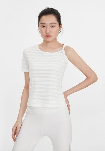 Pomelo white One Side Rolled Up Sleeve Tee - White 97A39AA8299F9AGS_1