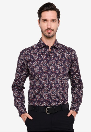 Sacoor Brothers navy Slim fit 100% cotton printed shirt 86E66AAA6EF932GS_1