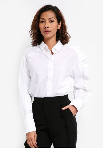 Bardot white Frill Shirt BA332AA0ST8KMY_1