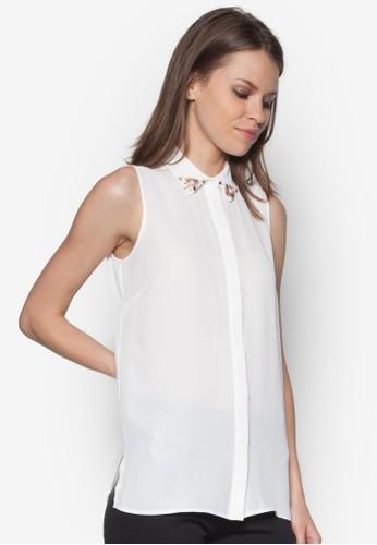 閃飾領zalora時尚購物網的koumi koumi無袖襯衫, 服飾, 襯衫