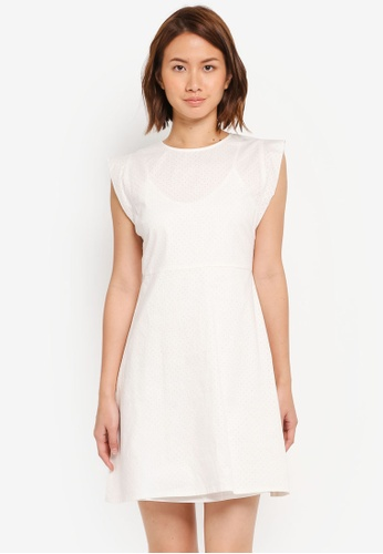 ZALORA white Fit & Flare Dress with Side Detail 7D9FAAAF96E358GS_1