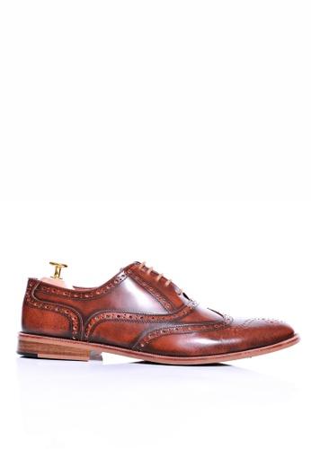 Zeve Shoes brown Zeve Shoes Brogue Wingtip Lace Up - Tan Polished Leather 14FCBSHB4627D0GS_1