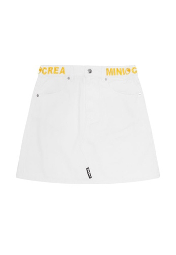 Mini cream white Logo embroidered denim skirt 75587AA91F016DGS_1