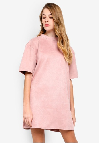 MISSGUIDED 粉紅色 人造麂皮T恤洋裝 117EEAA0ED2BDCGS_1