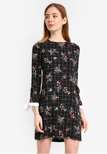ZALORA black Shift Dress With Sleeve Trim A01D4AA0C16FC1GS_1