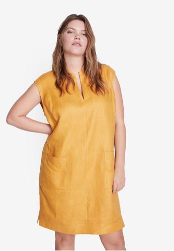Violeta by MANGO yellow Plus Size Shift Linen Dress with Pockets 199C5AA8F2C2E0GS_1