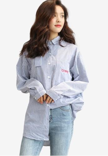 Shopsfashion blue Boyfriend Loose Fit Shirt 69108AAF6A1630GS_1