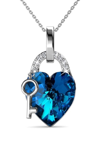 Her Jewellery blue Key To Heart Pendant (Blue) - Made with premium grade crystals from Austria AC89EAC3659397GS_1