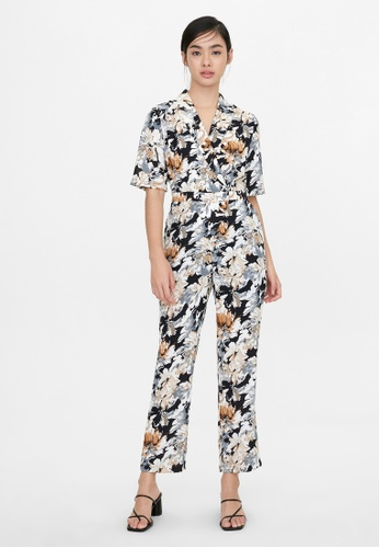 Pomelo black Abstract Floral Short Sleeves Jumpsuit - Black F4976AA35450FAGS_1