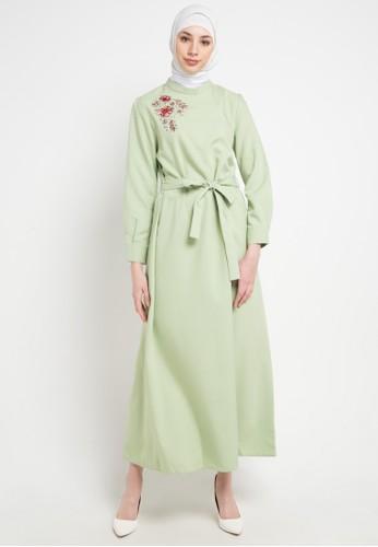 OMARA green Patra Dress D0240AA1F4518EGS_1
