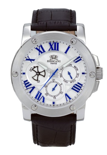 Roscani black Roscani Spencer 996 (Multifunction + WR 5ATM) Stainless Steel White Leather Men Watch CF7AFAC036C5F9GS_1