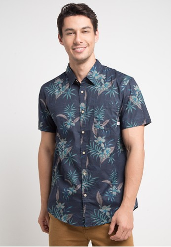 Quiksilver multi and navy Shark Fin Bay Shirt E7260AAE06E396GS_1