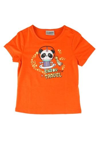 LC Waikiki orange Girl's Printed Cotton T-Shirt C0827KAD16B367GS_1