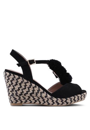 Dorothy Perkins 黑色 草編毛球飾楔型鞋 BE134SHA2EAE08GS_1