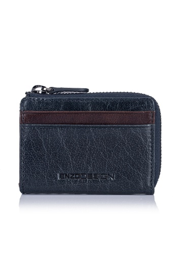 ENZODESIGN brown and multi and navy Buffalo Leather ID Mini Coin Case With Key Ring EN115AC0J3QRPH_1