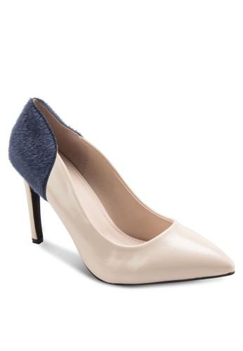 Elizabeesprit暢貨中心th 絨毛拼接尖頭高跟鞋, 女鞋, 鞋