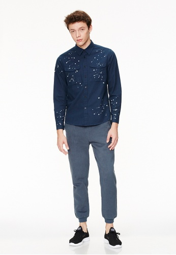 Life8 blue Regular Fit Longline Zip Thru Shirts-03882-Blue LI286AA0SC7QMY_1