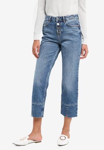 Mango blue Button Straight Jeans D5E83AA3C59B06GS_1