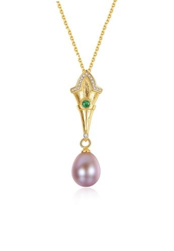 A.Excellence purple Premium Purple Pearl Elegant Necklace 64DCFAC40A0B66GS_1
