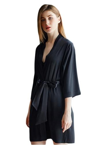 LYCKA black LMX1064-Lady One Piece Casual Robe Nightwear-Black 952CDAA42AC5A5GS_1
