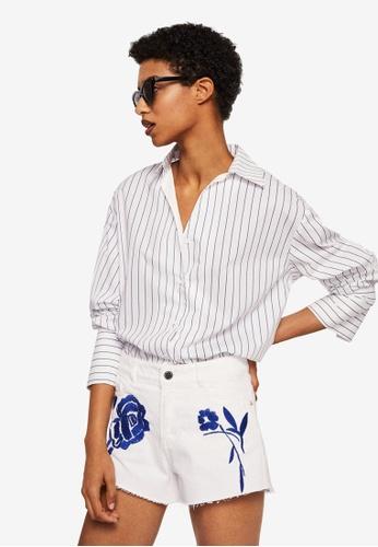 Mango white Embroidered Denim Shorts 9F227AA7F7ACD5GS_1