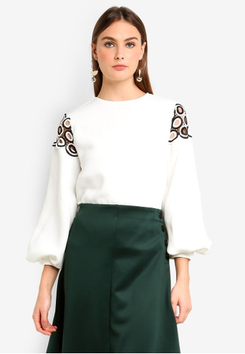 bYSI white Circle Crochet Puffed Blouse 9CD09AA130435AGS_1