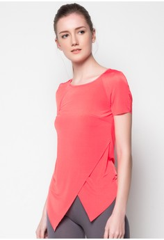 Short Sleeve Overlay Knit Top with Back Slit Opening
