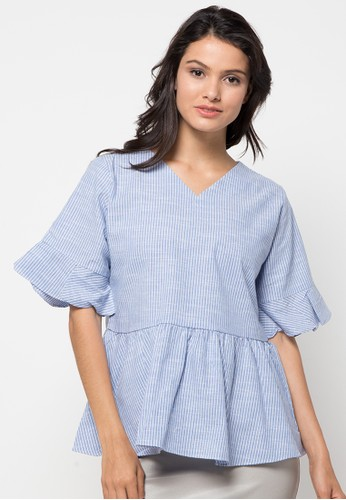 ECLAT APPAREL blue Knotted Sleeve Blouse EC565AA62PVDID_1