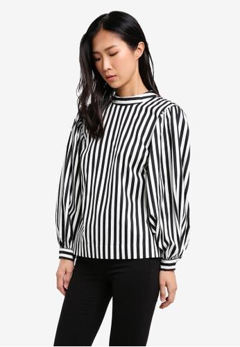 TOPSHOP black Balloon Sleeve Stripe Blouse TO412AA0SBQYMY_1