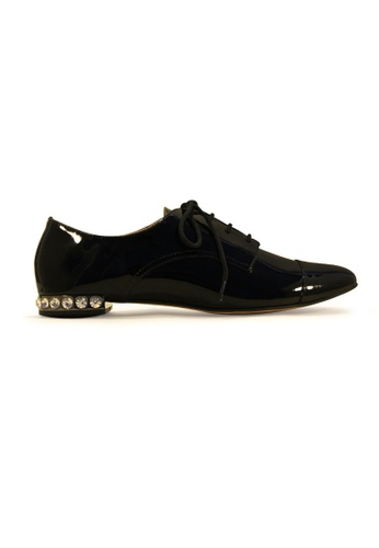 Gripz black Vinz Round Toe Lace Up Patent Loafers 97959SH977E560GS_1
