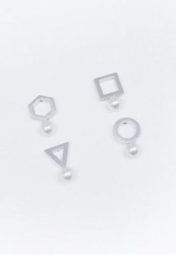 髮絲紋幾何珍珠耳環組, esprit hong kong飾品配件, 耳環