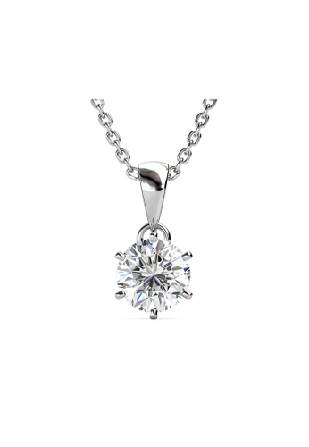 Her Jewellery silver CELÈSTA Moissanite Diamond - Les Solitaire Pendant (925 Silver with 18K White Gold Plating) by Her Jewellery 18B90ACE90C0E7GS_1