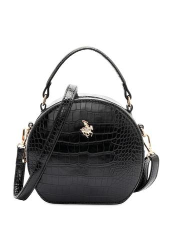Swiss Polo black Croc Top Handle Sling Bag 30D2DAC44A4942GS_1