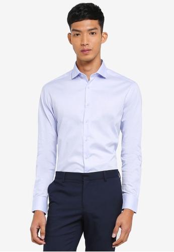 G2000 blue Dot Textured Long Sleeve Shirt 38196AAFCA1D3FGS_1