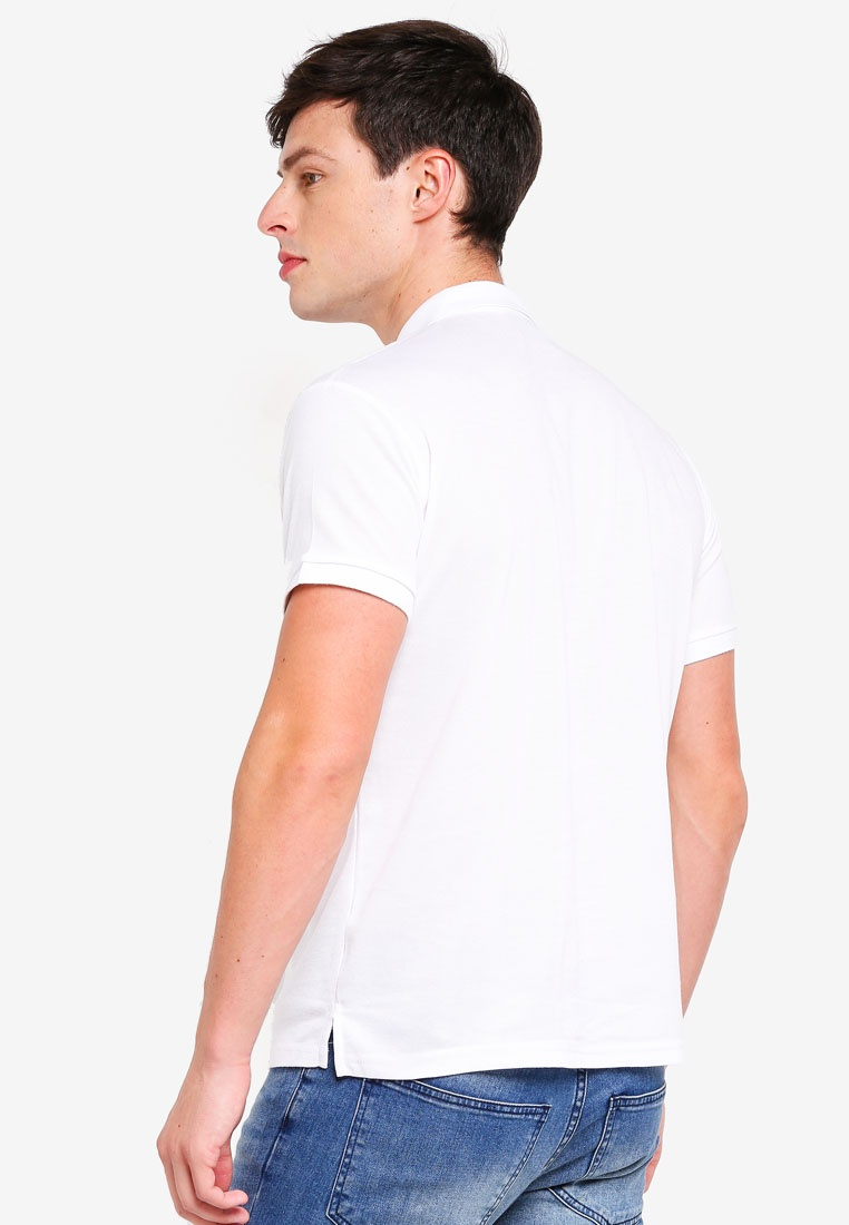 Collar Taped White Polo Shirt Fidelio v7WwWqAFY6