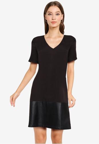 ZALORA WORK black Contrast PU Shift Dress B07F7AA0F8D469GS_1