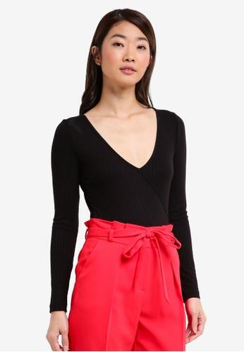 Miss Selfridge black Long Sleeve Rib Wrap Body Top FE508AA4491D51GS_1