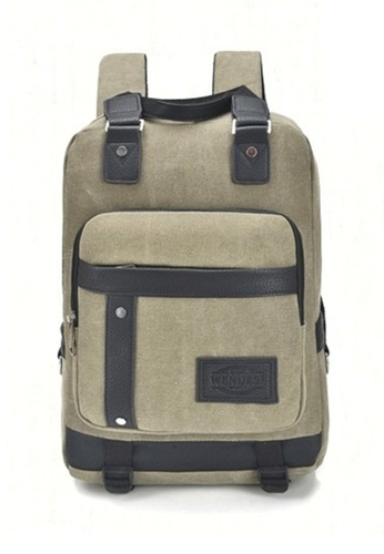 Jackbox green GMZ Korean Border Line Design Canvas Ipad Laptop Bag Backpack 522 (Army Green) JA762AC56KRVMY_1