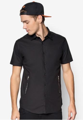 對比色短袖esprit高雄門市恤衫連側拉鍊口袋, 服飾, 素色襯衫