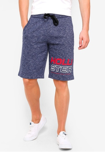 Hollister 海軍藍色 LOGO印花素色短褲 C7845AAB82EA47GS_1