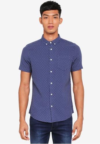 Burton Menswear London navy Short Sleeve Navy Cross Textured Print Shirt 6DD09AA452F9AEGS_1