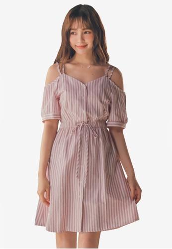 Yoco pink Striped Tie-Front Cami Dress 7F882AAE82C0B1GS_1