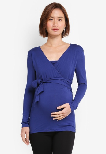 Envie De Fraise blue and navy Maternity Jessica Long Sleeve Top E5828AA0A8B5AAGS_1